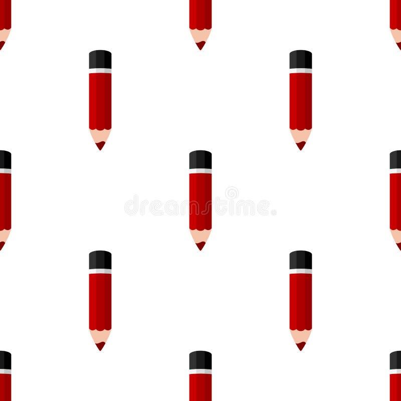 Het rode Kleine Naadloze Patroon van het Potlood Vlakke Pictogram royalty-vrije illustratie