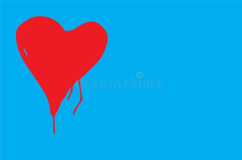 Het rode kleurenhart met onvolmaakte vorm en verf druipt in een blauwe vectorillustratie als achtergrond stock illustratie