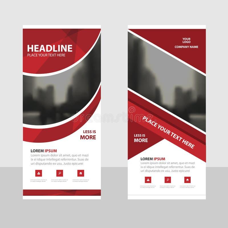 Het rode kromme Bedrijfsbroodje op malplaatje van het Banner het vlakke ontwerp, vat Geometrische Vector de illustratiereeks van  royalty-vrije illustratie