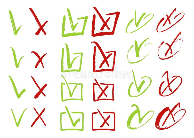 Het rode kruis en de groene tik grunge plaatsen voor websites Juiste en Verkeerde die tekens op witte vector getrokken hand worde stock illustratie