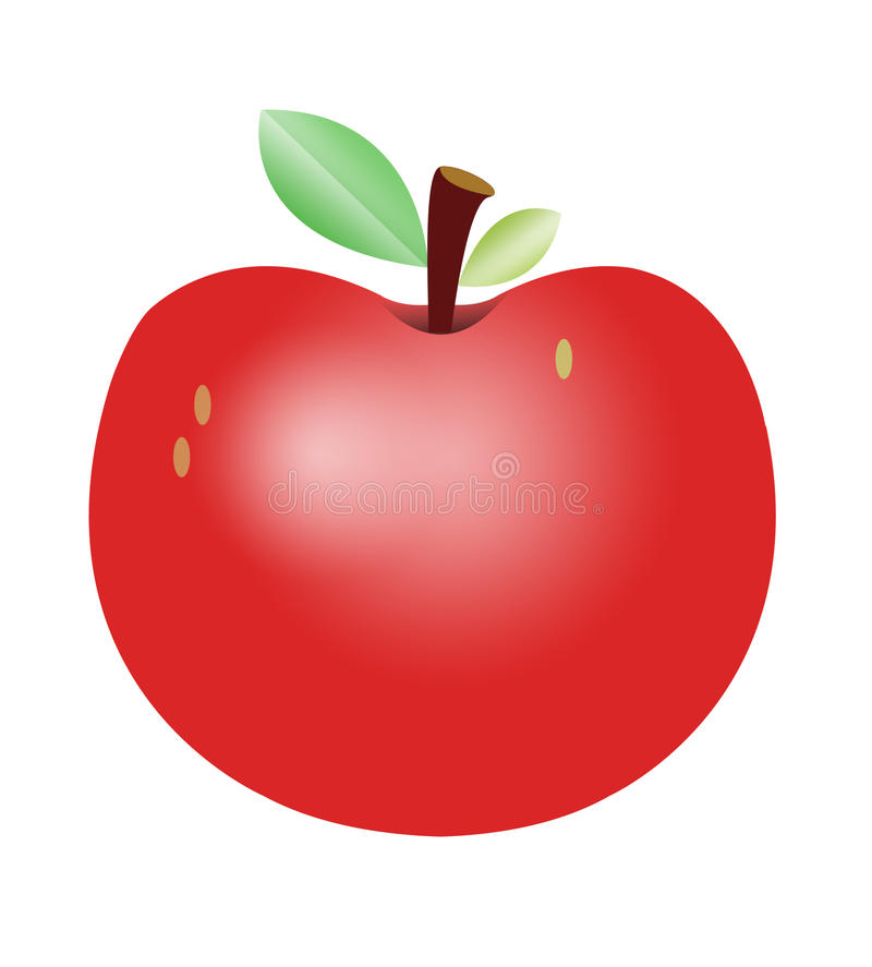 Het rode Leuke Beeldverhaal van Apple vector illustratie