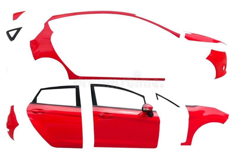Het rode lichaam van het autokader op witte achtergrond stock afbeelding