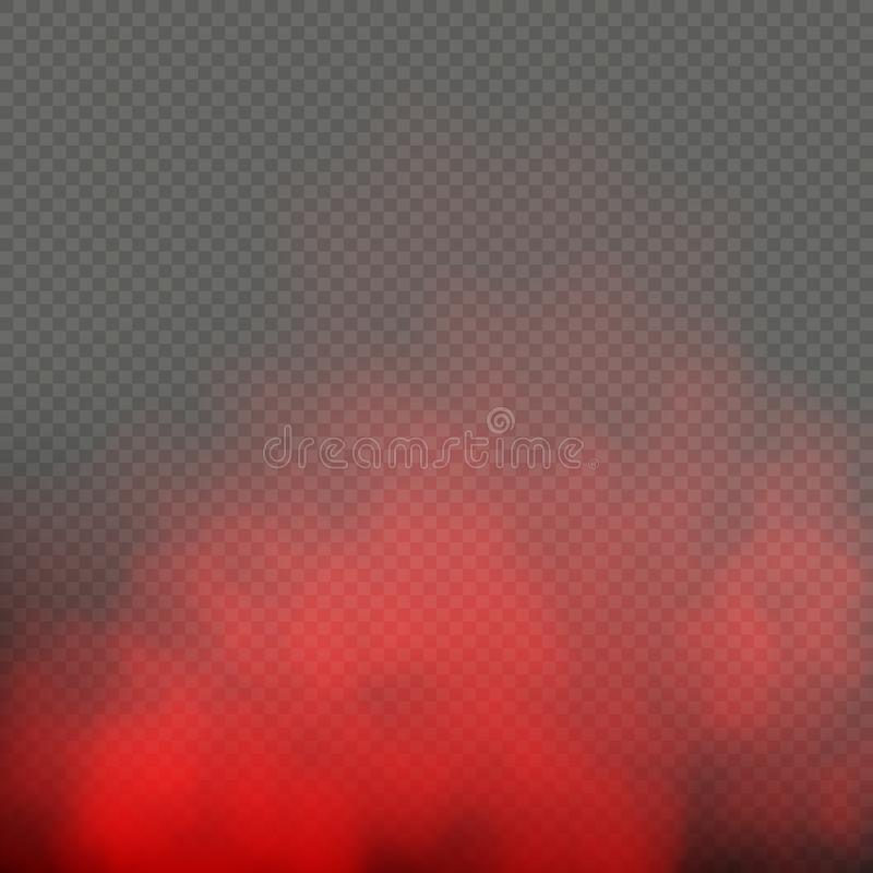 Het rode mist of mist geïsoleerde effect van de kleuren speciale rook op transparante achtergrond Eps 10 stock illustratie