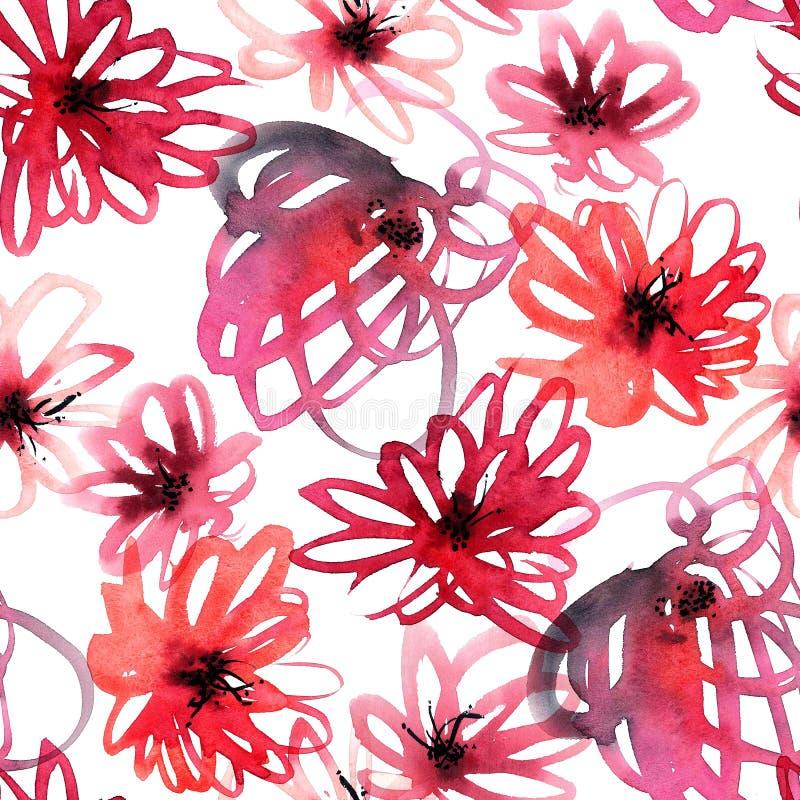 Het rode Naadloze Patroon van Bloemen stock illustratie
