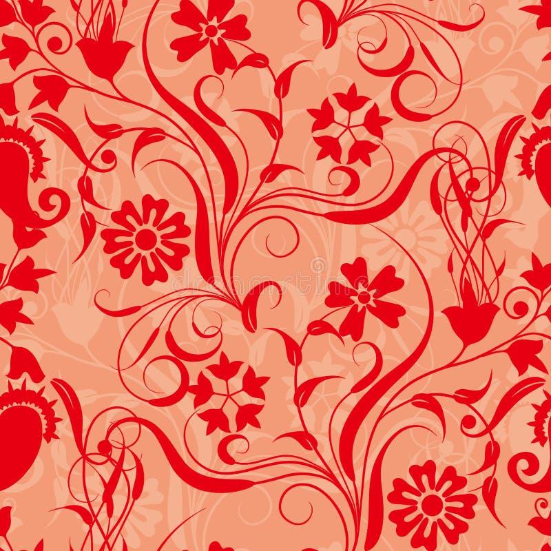 Het rode naadloze patroon van het bloemdamast stock illustratie
