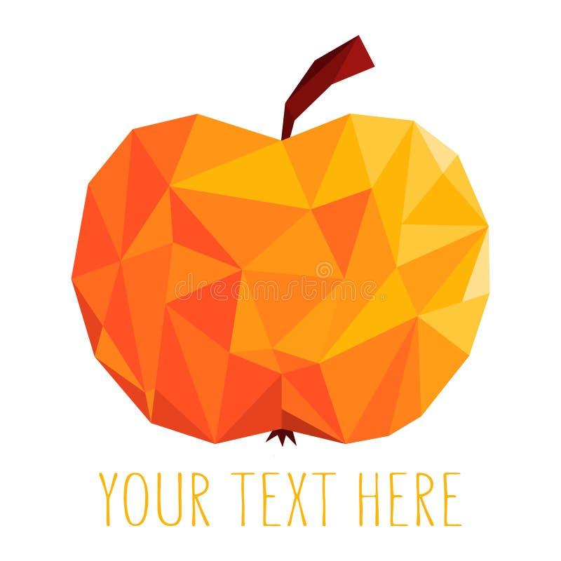 Het rode ontwerp van het appelembleem Sappig veelhoekfruit royalty-vrije illustratie