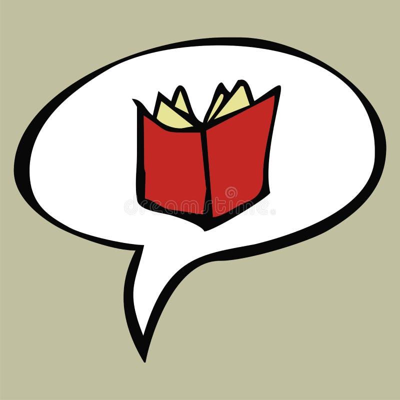 Het rode open boek van het beeldverhaal in tekstballon vector illustratie