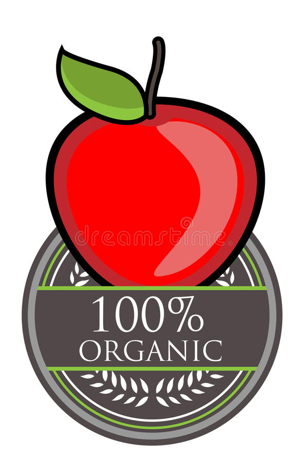 Het rode Organische etiket van Apple vector illustratie