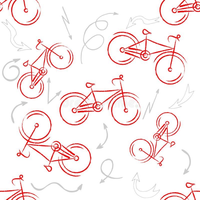 Het rode Ornament van de sportfiets Gevormd Ontwerpelement, fietsembleem voor uw ontwerp Fietsontwerp Naadloos patroon vector illustratie