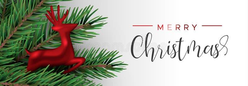 Het rode ornament van het Kerstmisrendier in pijnboomboom stock illustratie