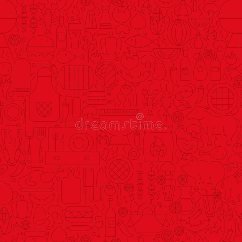 Het rode Patroon van de de Lijntegel van het Grillmenu royalty-vrije illustratie