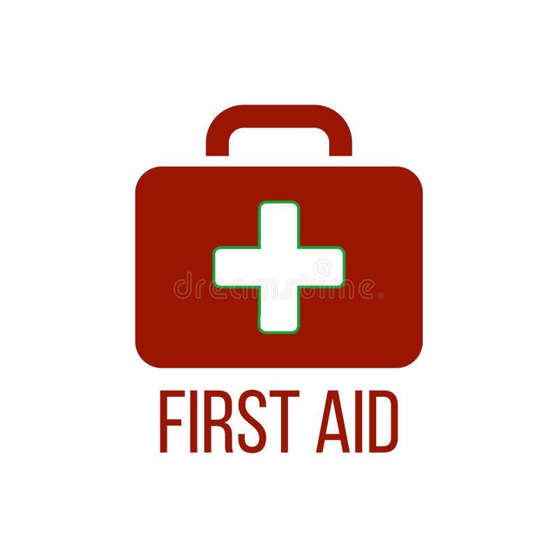 Het rode pictogram van de eerste hulpuitrusting Medische doos met kruis Medische apparatuur voor noodsituatie Het concept van de  royalty-vrije illustratie
