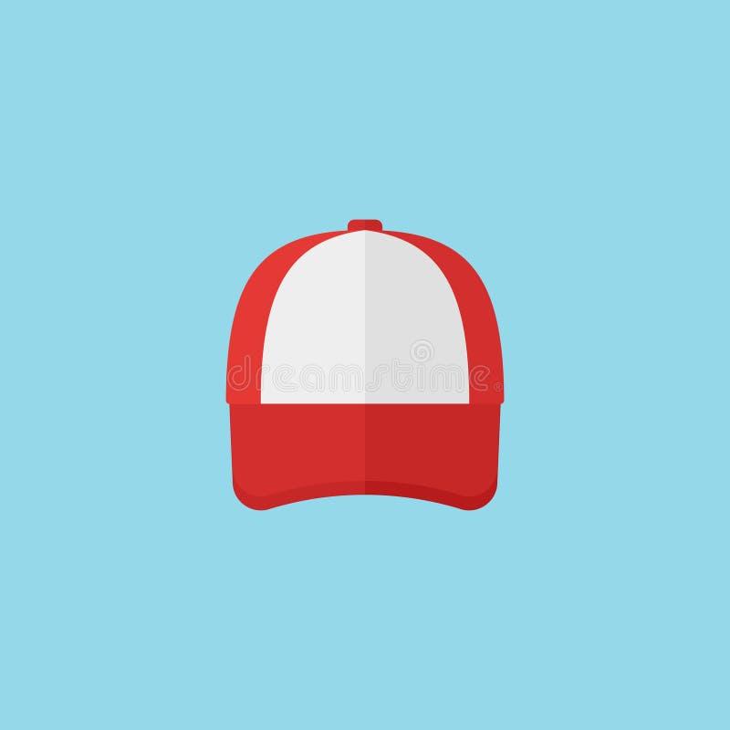 Het rode pictogram van de honkbalglb vlakke stijl Vector illustratie stock illustratie