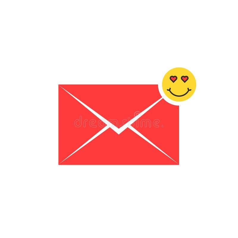 Het rode pictogram van de liefdebrief met emoji vector illustratie