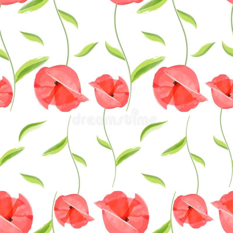 Het rode romantische patroon van de papaverbloem vector illustratie