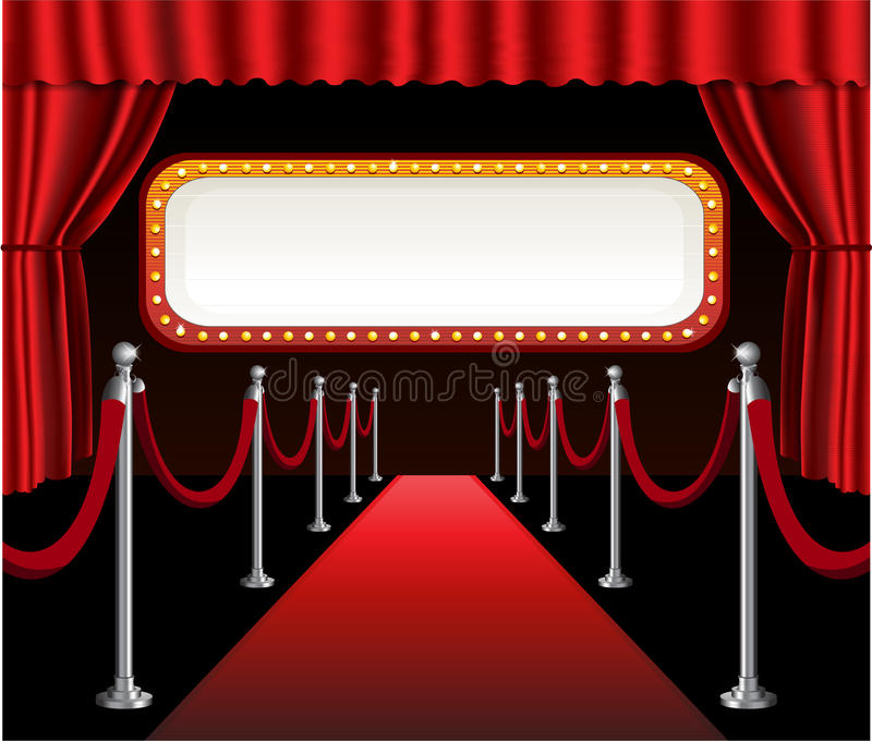 Het rode rood van de de première elegante gebeurtenis van de tapijtfilm stock illustratie