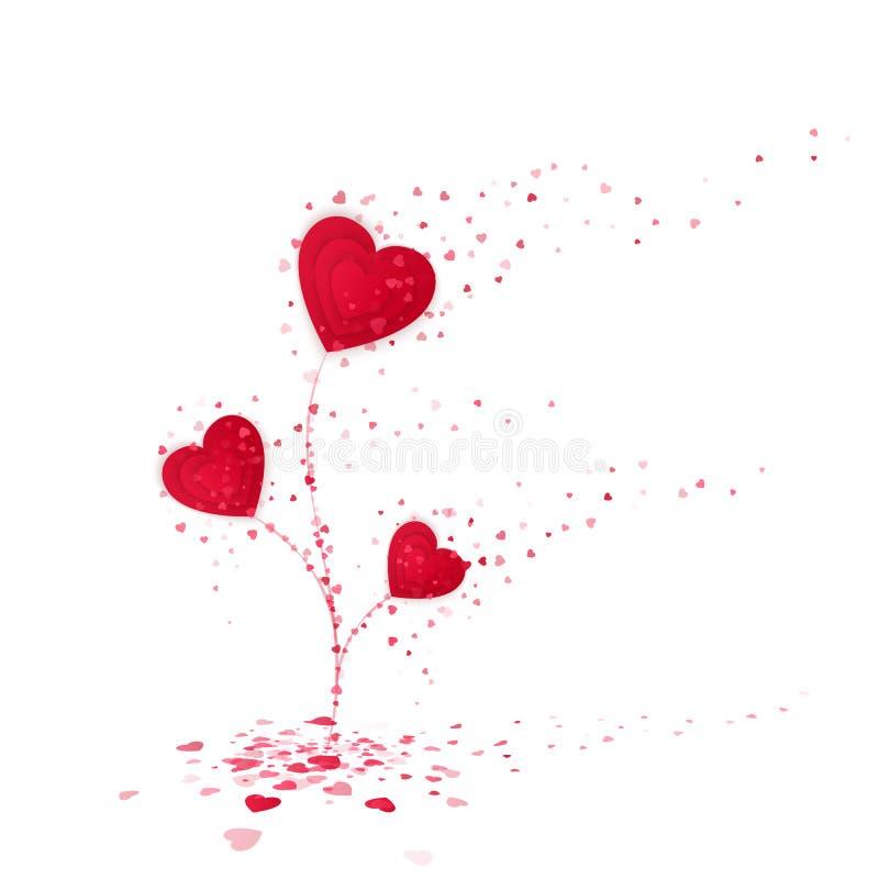Het rode symbool van de Hartbloem van liefde Leuke bloem van rode harten Valentijnskaartendag of de Daggroetkaart van Vrouwen vector illustratie