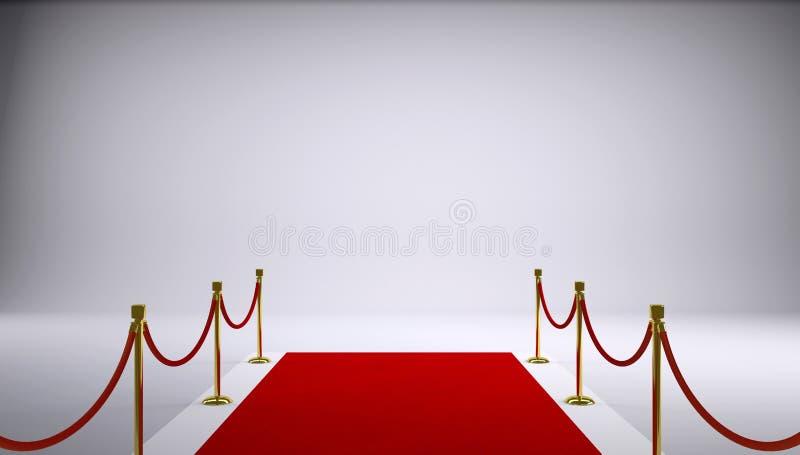 Het rode tapijt. Grijze achtergrond stock foto's