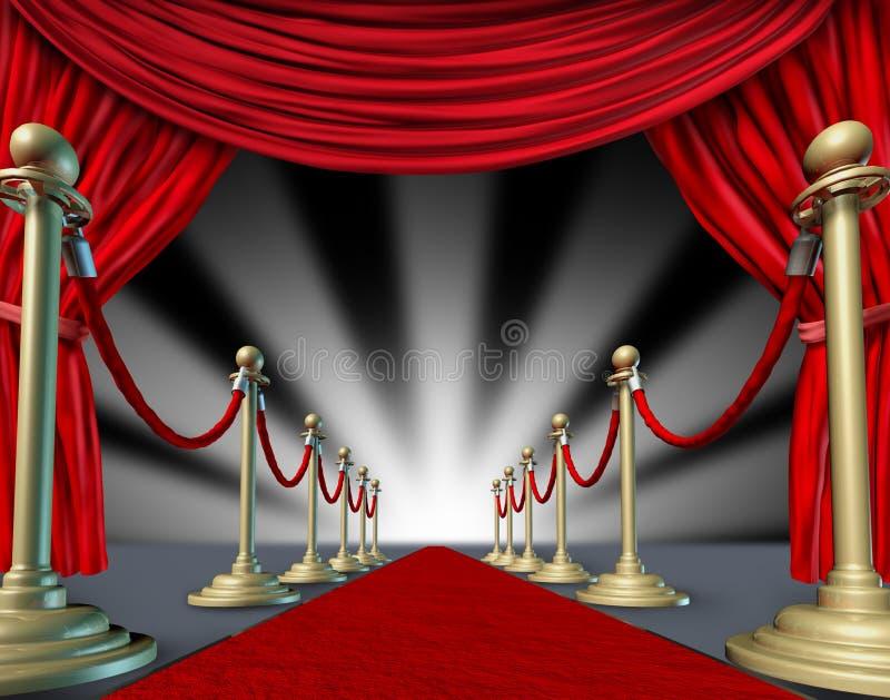 Het rode tapijtgordijnen grote openen vector illustratie