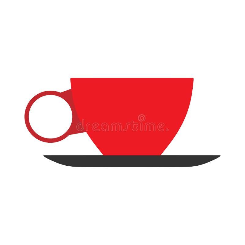 Het rode teken van de het zijaanzicht vector vlakke close-up van de kopkoffie Mok van het het aroma de hete restaurant van de cho stock illustratie