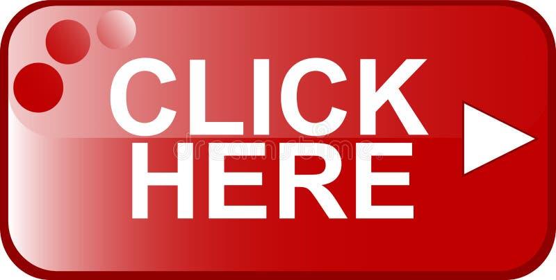 Het rode teken van het Web van de Knoop klikt hier vector illustratie