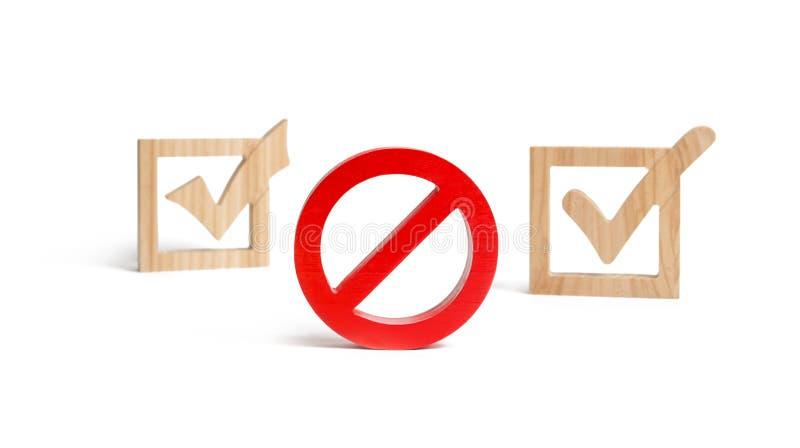Het rode teken van nr of van het verbod Houten vinkjes op de achtergrond Het concept vergunningen en verboden Het wetgevingsproce royalty-vrije stock fotografie