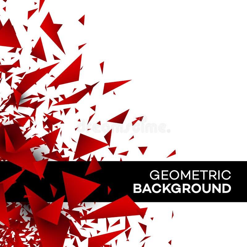 Het rode van de de brochuredriehoek veelhoek van het achtergrondvliegermalplaatje geometrische ontwerp Vector illustratie royalty-vrije illustratie
