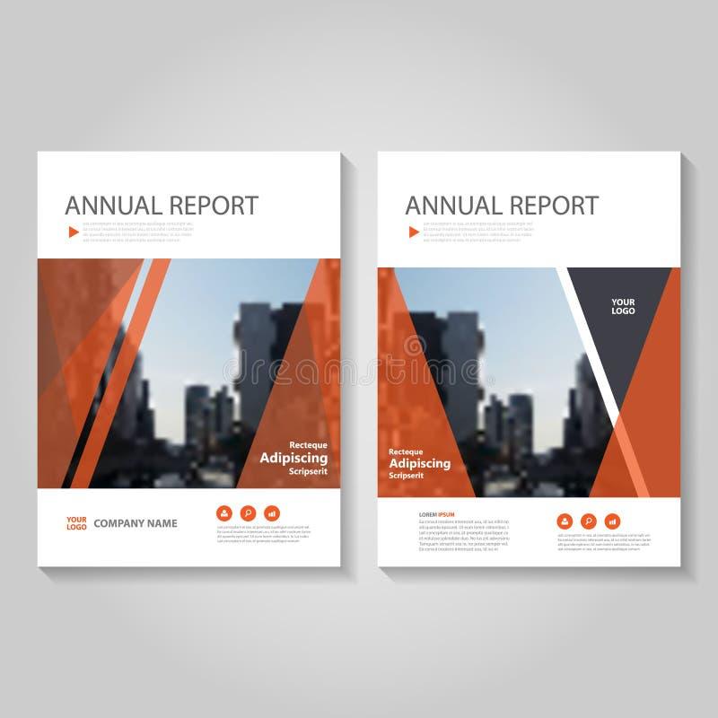 Het rode Vector van de de Brochurevlieger van het jaarverslagpamflet het malplaatjeontwerp, de lay-outontwerp van de boekdekking, vector illustratie