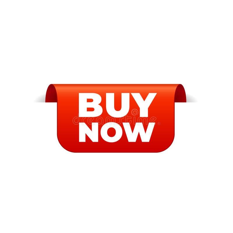 Het rode Vectorbannerlint op witte achtergrond, hoogste referentie, koopt nu stock illustratie