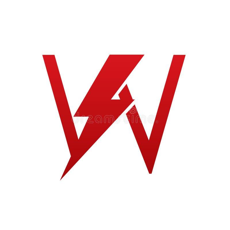 Het rode Vectorembleem van de Bout Elektrische Brief U stock foto
