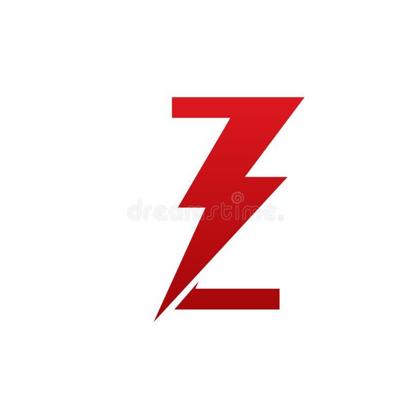 Het rode Vectorembleem van de Bout Elektrische Brief Z stock foto