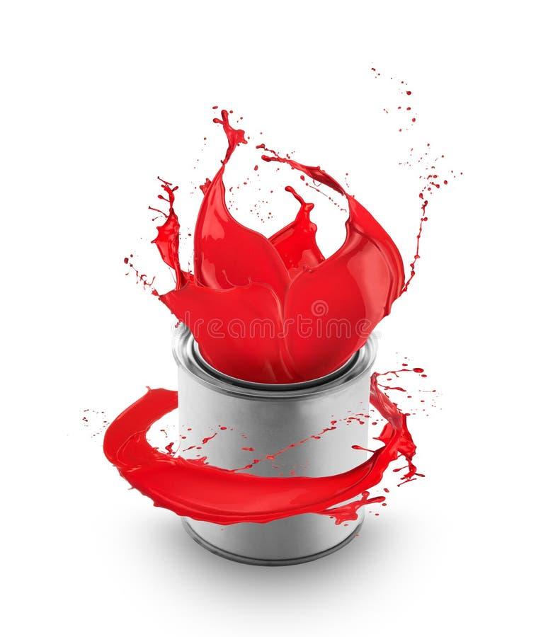 Het rode verf bespatten uit kan stock afbeelding