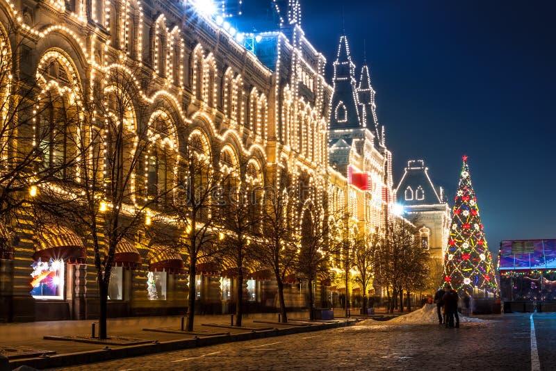 Het rode Vierkant en warenhuis van de staat van Moskou (GOM) bij nacht. royalty-vrije stock afbeelding