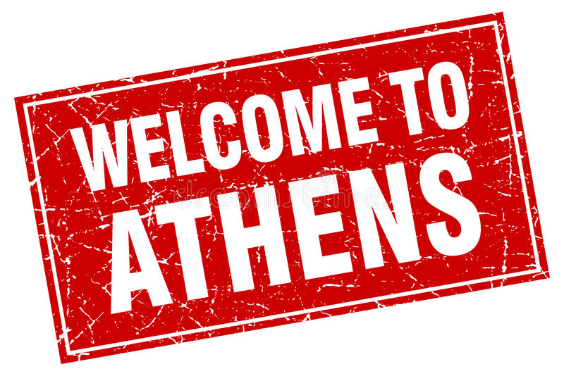 Het rode vierkante onthaal van Athene aan zegel vector illustratie