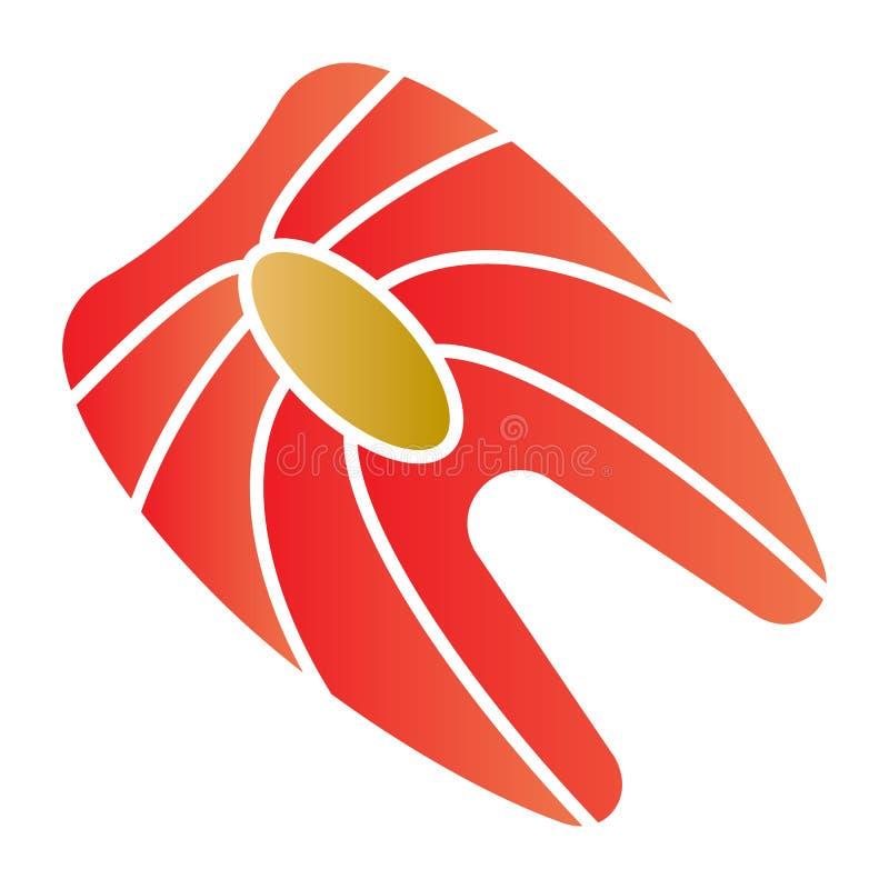Het rode vlakke pictogram van het vissenlapje vlees De pictogrammen van de visvleeskleur in in vlakke stijl De stijlontwerp van d stock illustratie