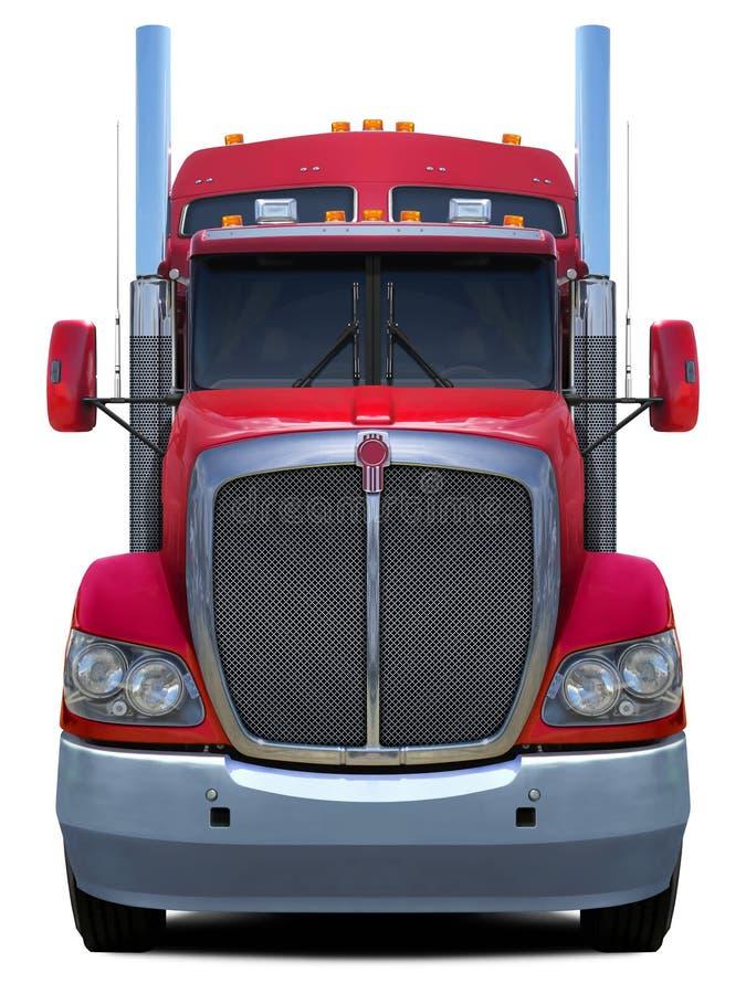 Het rode vooraanzicht van vrachtwagenkenworth t660 stock fotografie
