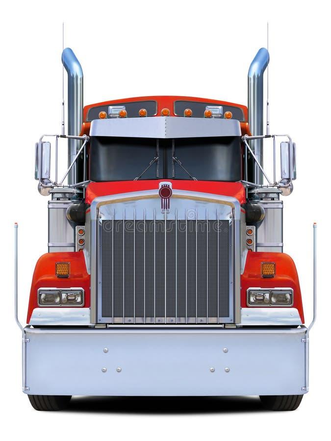 Het rode vooraanzicht van vrachtwagenkenworth w900 stock afbeelding