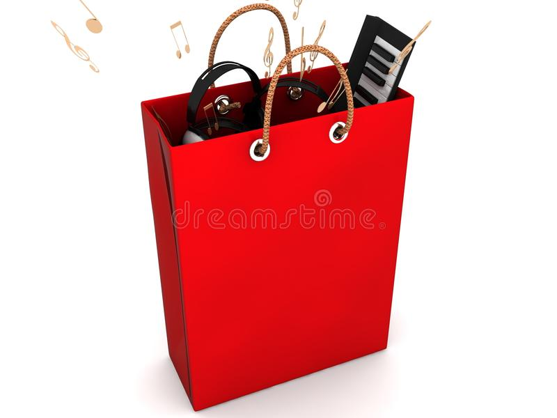Het rode winkelen met teruggegeven muzikale apparatuur stock illustratie