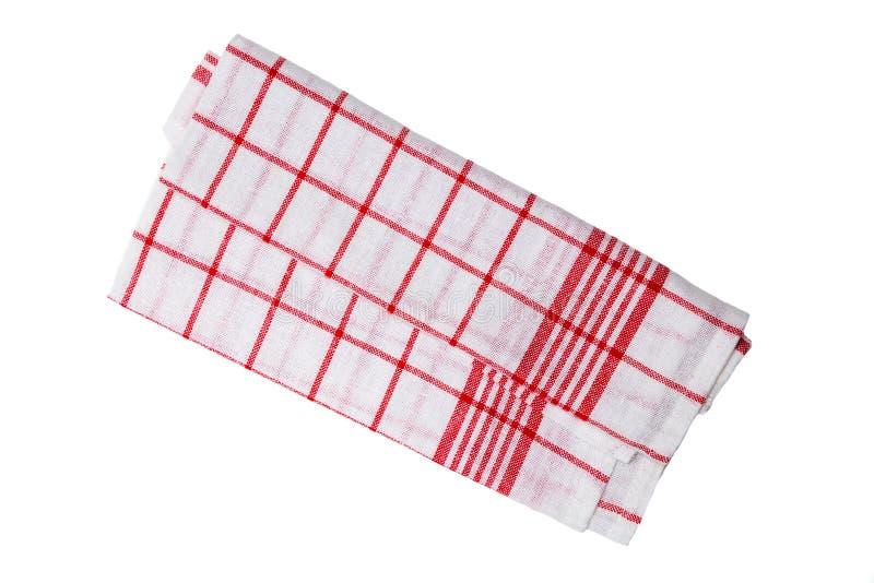 Het rode wit van de keukenhanddoek geïsoleerd zoals Gesneden royalty-vrije stock foto