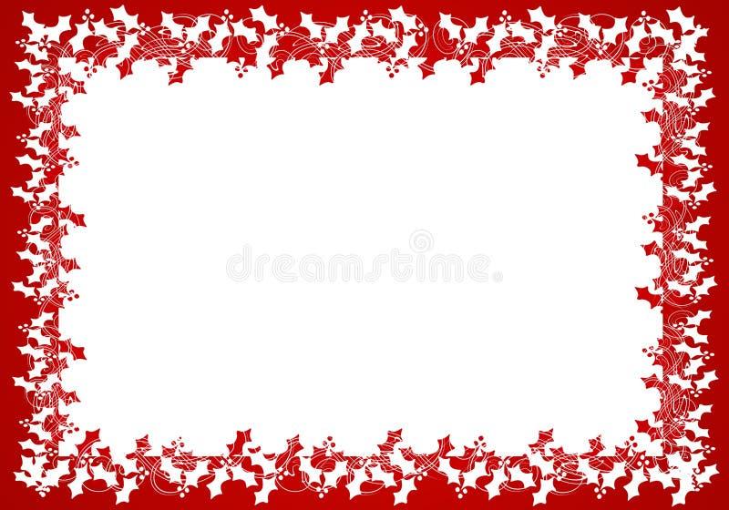 Het rode Witte Frame of de Grens van het Blad van de Hulst royalty-vrije illustratie