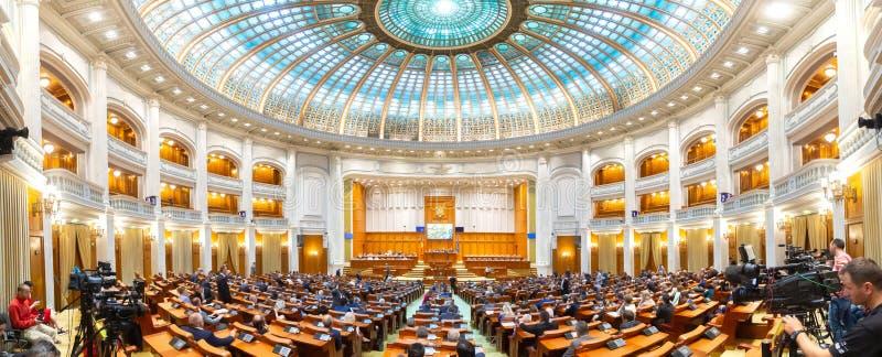 Het Roemeense Parlement - gemeenschappelijke vergadering - Senaat en Huis van Afgevaardigden royalty-vrije stock afbeelding