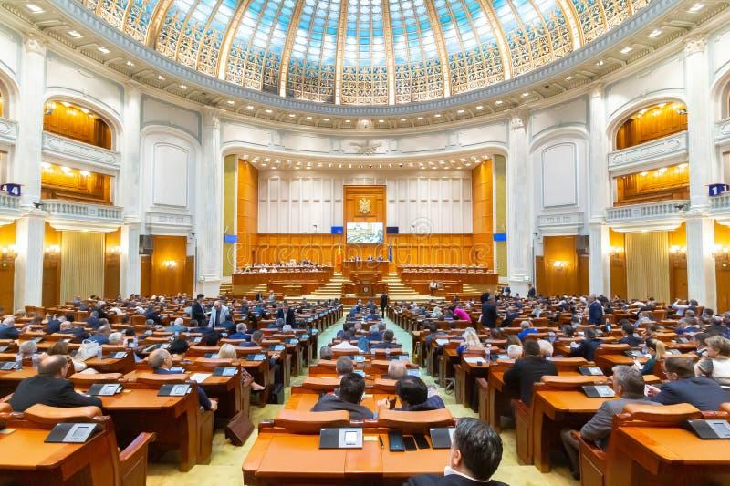 Het Roemeense Parlement - gemeenschappelijke vergadering - Senaat en Huis van Afgevaardigden royalty-vrije stock foto's