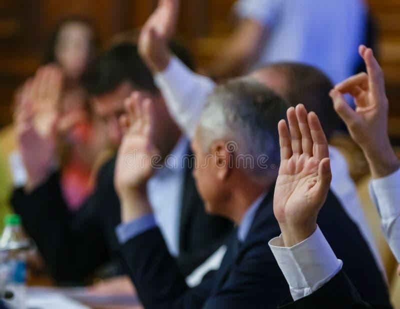 Het Roemeense Parlement - gemeenschappelijke vergadering - Senaat en Huis van Afgevaardigden stock foto's
