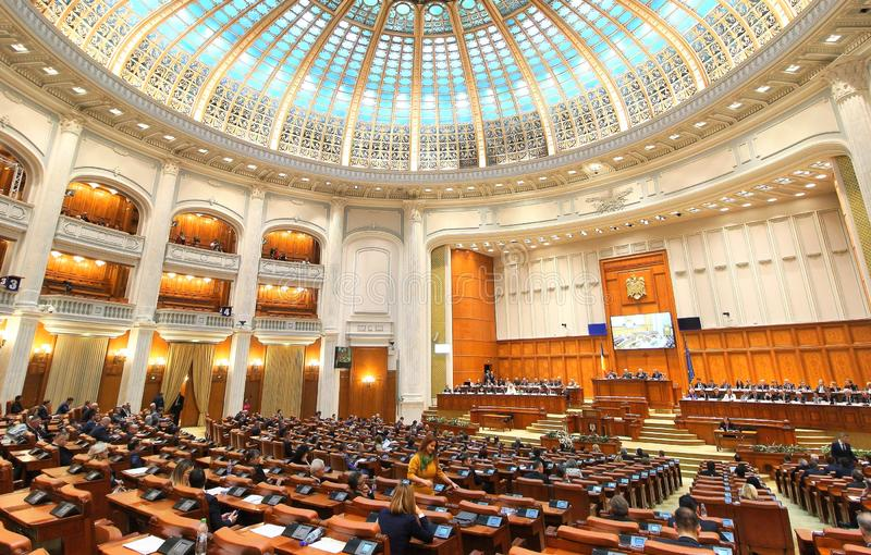 Het Roemeense Parlement - Plechtige plenaire zitting gewijd aan de Grote Honderdjarige Unie royalty-vrije stock afbeeldingen