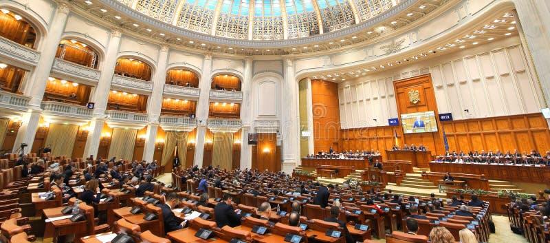 Het Roemeense Parlement - Plechtige plenaire zitting gewijd aan de Grote Honderdjarige Unie stock fotografie