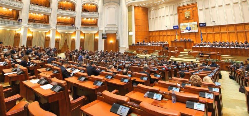 Het Roemeense Parlement - Plechtige plenaire zitting gewijd aan de Grote Honderdjarige Unie royalty-vrije stock foto