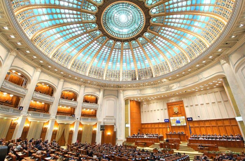 Het Roemeense Parlement - Plechtige plenaire zitting gewijd aan de Grote Honderdjarige Unie royalty-vrije stock fotografie