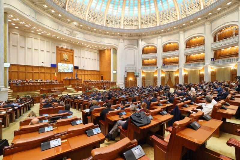 Het Roemeense Parlement - stemmingszitting van het Huis van Afgevaardigden stock foto