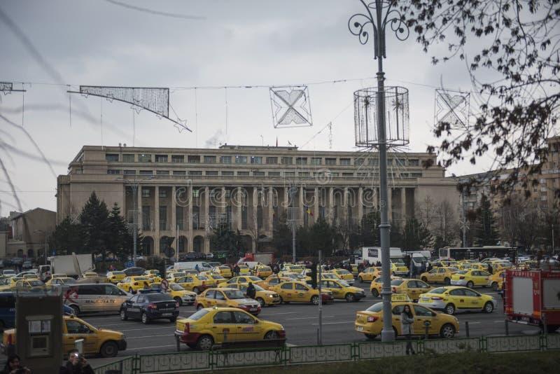 Het Roemeense protest van taxibestuurders stock afbeelding