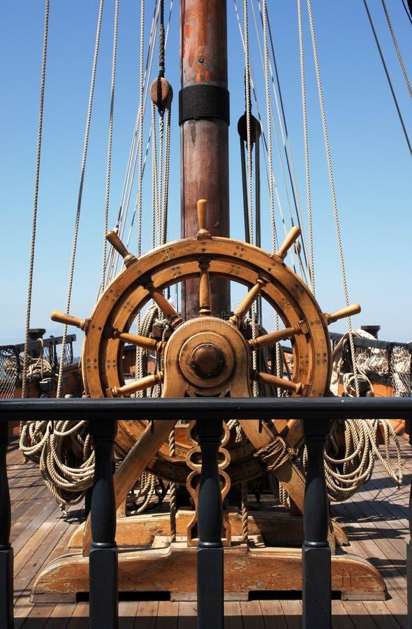 Het roer van het schip stock afbeelding
